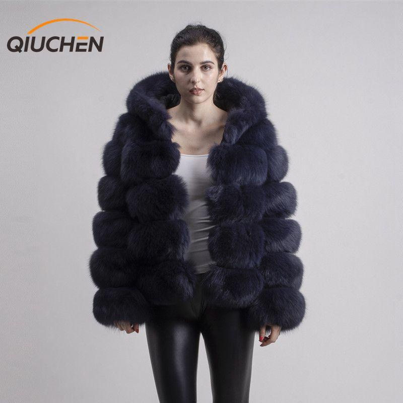 QIUCHEN PJ8143 2019 chegada nova brasão real fox fur mangas compridas roupa de peles de moda de alta qualidade mulheres casaco de inverno com capuz