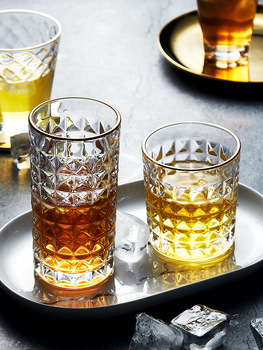 Isn Wind Tracing Gilt Edged Glass Thickened Relief Water Glass Household Whisky Glass Transparent Wine Glass image
