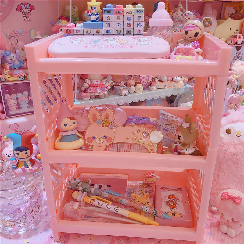 Lovely Pink storage three floor rack dolls collection for girls cosmetic holder
