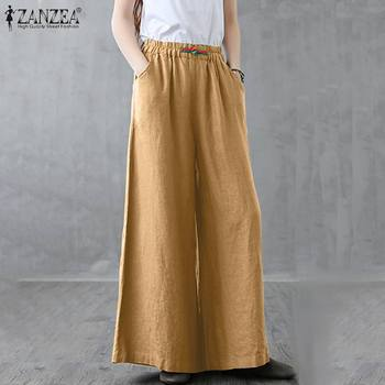 Stylish Elastic Waist Wide Leg Pants Women Trousers ZANZEA 2020 Casual Solid Baggy Pants Female Straight Pantalon Female Turnip