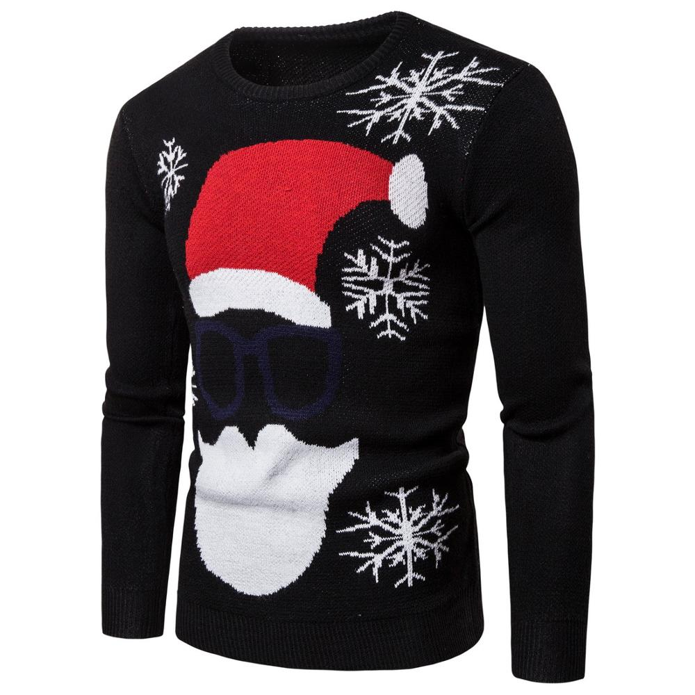 Mens Causal O Neck Sweater Deer Printed Autumn Winter Christmas Pullover Knitted Jumper Sweaters