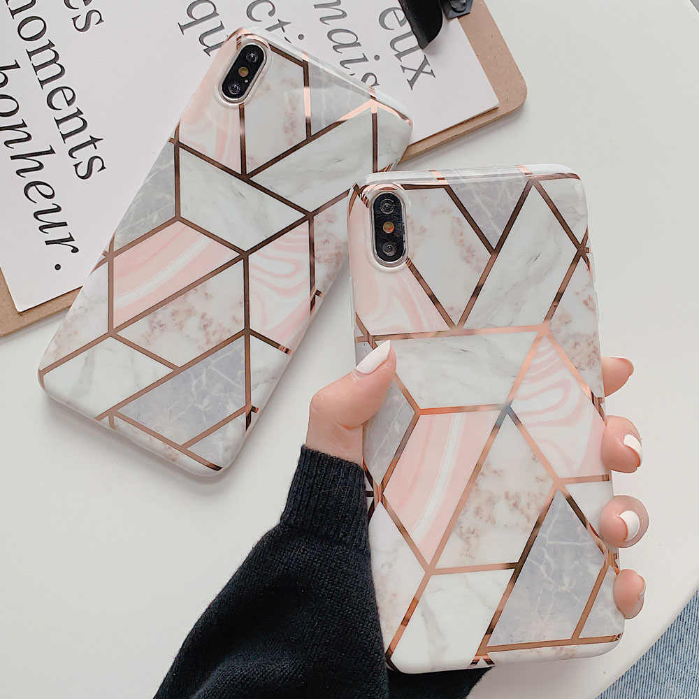 Plating Geometric Marble Case For iphone 7 XR 11 Pro Max Case For iphone X XS Max 8 7 6 6S Plus Phone Case Silicone Soft Cover