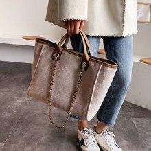 Dorywczo duża pojemność skrzynki projektant łańcuchy kobiet torebki luksusowe płótno pani torby na ramię mesenger kobiet duże torebki 2020 sac