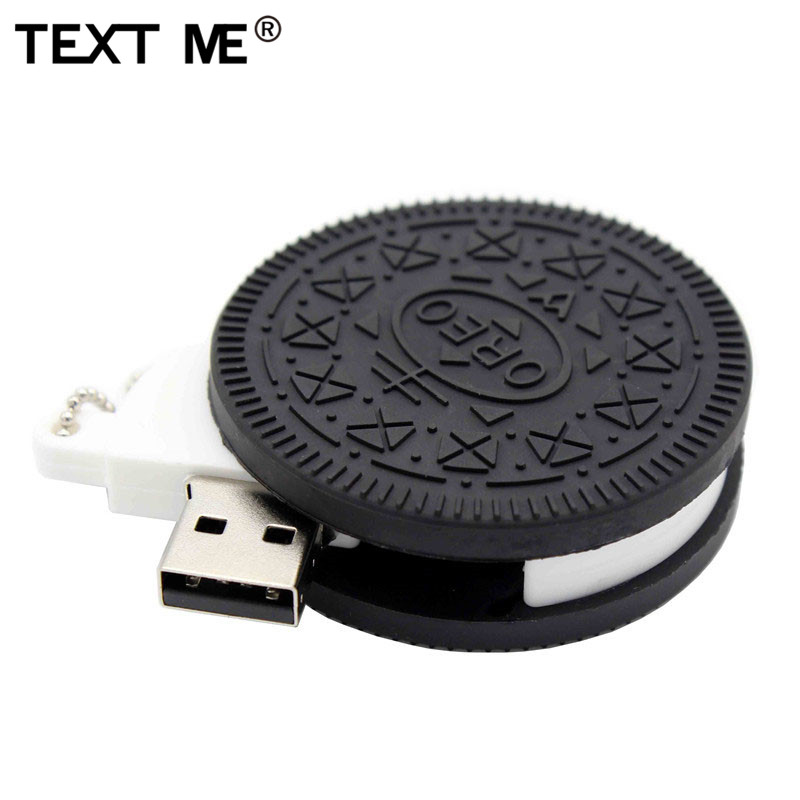 TEXT ME  Cartoon Oreo Biscuits Model Usb2.0 4GB 8GB 16GB 32GB 64GB Pen Drive USB Flash Drive Creative Gifty Stick Pendrive