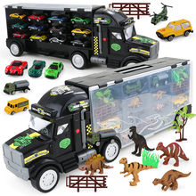 Classic Alloy Car Model Tractor Truck Container Toys Kits For Boys Dinosaur Model Vehicle Cargo Truck Kids Toy Portable Storage(China)