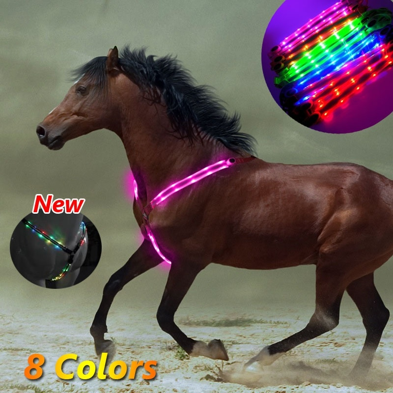 Nylon Breast Collar Dual LED Harness Horse Breastplate Webbing Lights Night Visible Safe Horse Riding Equipment Equestrian Belt