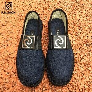 Image 1 - F.N.JACK Espadrille semelles en caoutchouc pour hommes, chaussures en toile intelligente, vip link, chaussures de mode décontractée