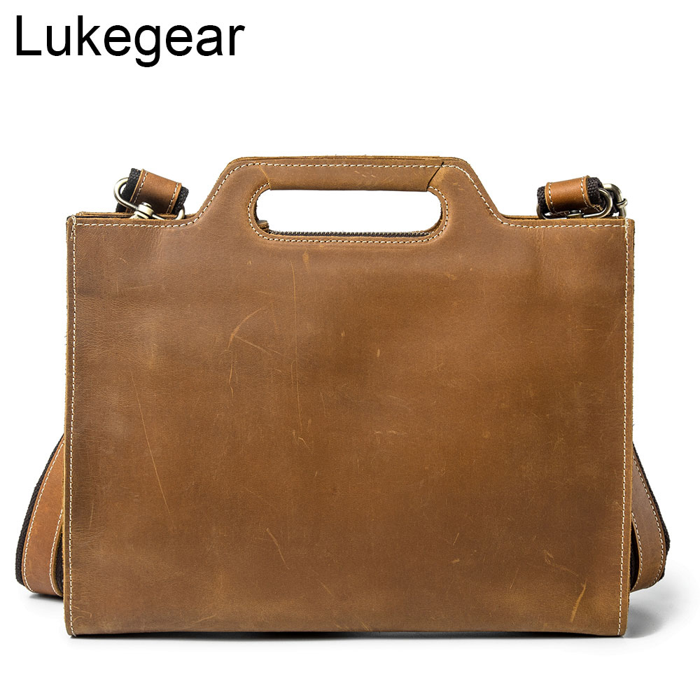 Lukegear Messenger Bag Men Leather Cowhide Briefcase Crazy Horse Leather Bags With Strap Retro Durable Pack