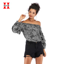 Slash Neck Blouse Women Tops Streetwear Harajuku Sexy Leopard Butterfly Sleeve Blousees For Women's Summer 2020 chiffon Blouse butterfly sleeve button through crop blouse