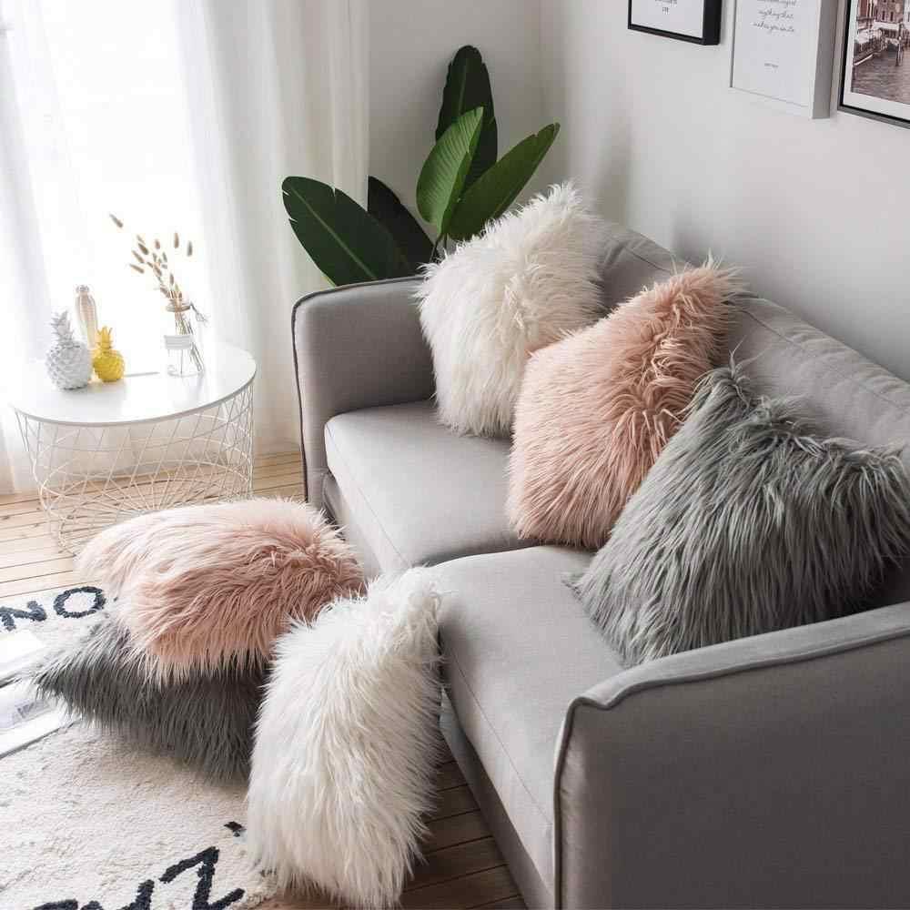 Plush Cushion Cover Solid Furry Pillowcase Pillow Case Home Sofa Decoration