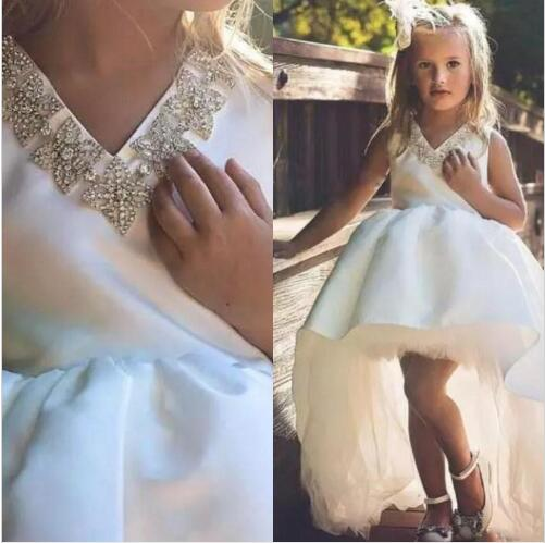 Sexy White   Flower     Girls     Dresses   Beaded Hi Lo Satin tulle Princess Kid Formal Wears 2020 Cheap