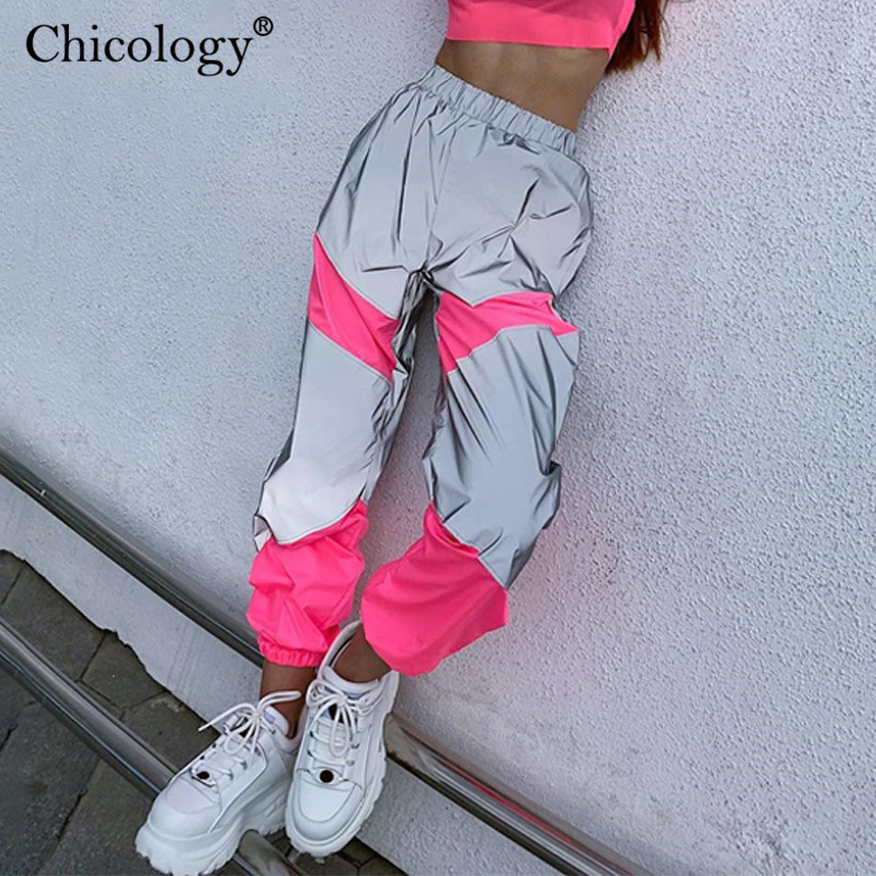 Chicology Flash Reflective Patchwork High Waist Long Pants Women Streetwear Trouser 2019 Autumn Winter Female Club Party Clothes