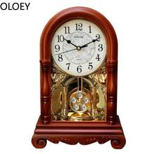 Retro Pendulum Wall Clock Luxury Large Desk Living Room Vintage Pendulum Wall Clocks Wood Orologio A Pendolo Da Parete Ornaments(China)