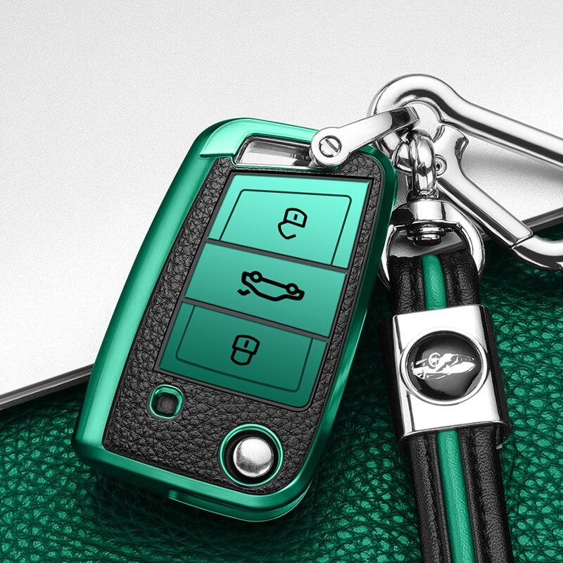 ТПУ + кожаный чехол для автомобильного ключа volkswagen vw golf