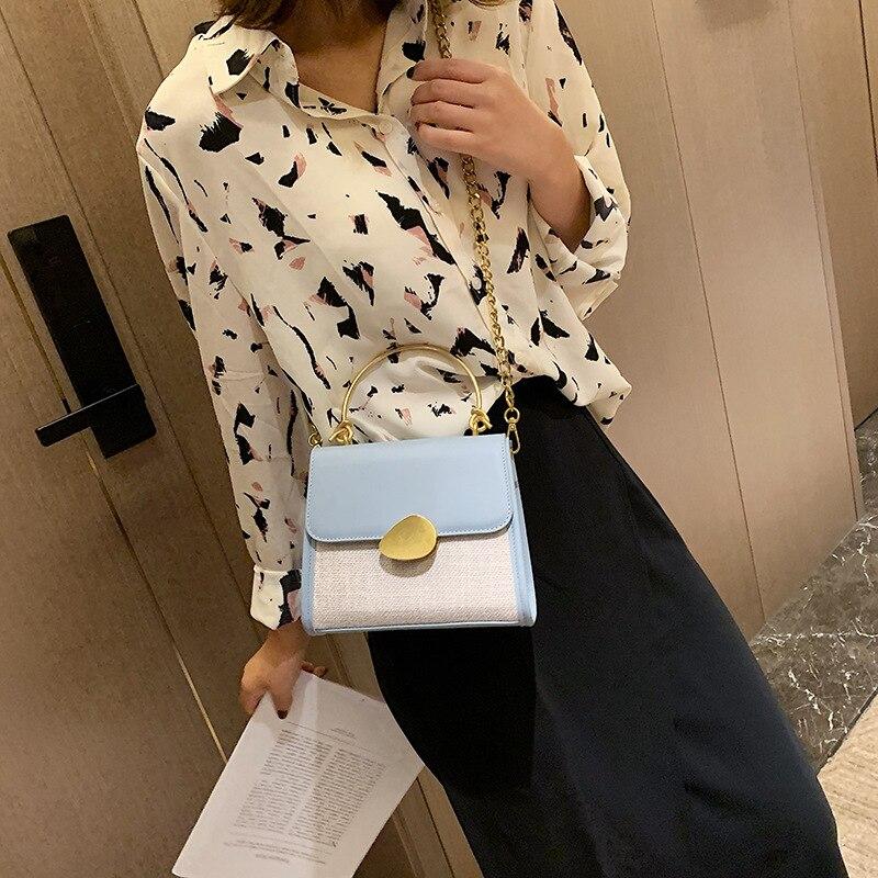 2019 nouveau lin stéréo en forme de petit sac carré lame serrure fermoir unique épaule inclinée fronde sac pour femmes