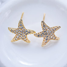 4PCS 13MM 24K Gold Color Brass with Zircon Starfish Stud Earrings High Quality Diy Accessories Jewelry Findings(China)