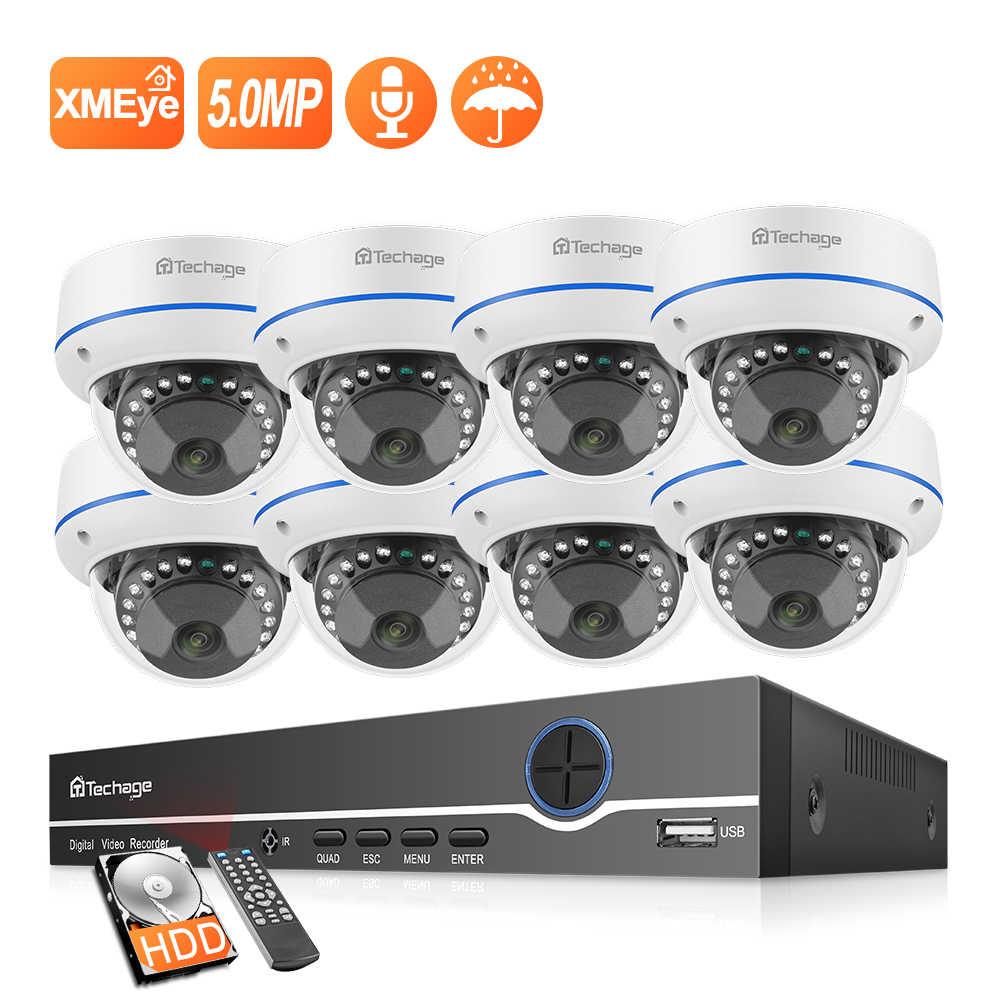 Techage 8CH 1080P POE NVR zestaw H.265 System CCTV 2MP mikrofon Audio Dome kryty bezpieczeństwa kamera IP P2P zestaw nadzoru wideo