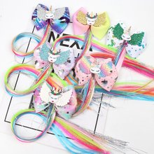 Colorful Long Pigtails Hair Clip for Girls Handmade Unicorn Print Ribbon Glitter Wings Bows Hairpins Party Accessories