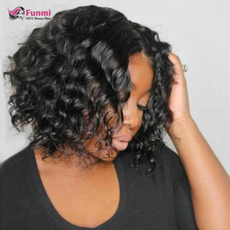 Funmi Hair Brazilian Loose Wave Bob Wig Lace Front Human Hair Wigs Pre-Plucked Remy Human Hair Wig For Black Women Natural Color