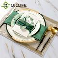 1 шт. Роскошный зеленый керамический обеденный тарелка геометрический набор посуды для свадьбы Банкетный раунд посуда и тарелки кухонные п...