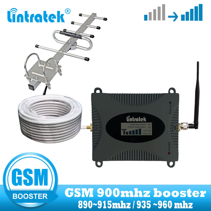 lintratek Mobile Cell Phone Signal Booster 2G GSM 900MHz cellular Repeater communication amplifier with Yagi and whid  antenna