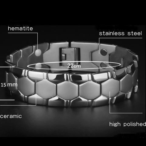 Large Mens Bracelet 3 IN 1 Health Energy Bangle Arthritis Twisted Magnetic Exquisite Bracelet Male Gift Power Therapy Magnets Lahore