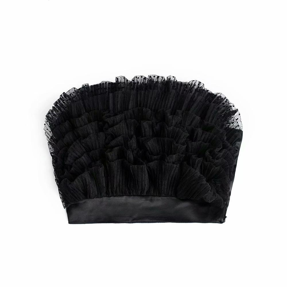 New Women Cascading Ruffles Strapless Short Mesh Crop Tops Women Chic Streetwear Side ZipperT-shirt Back Elastic Clothing LS6333