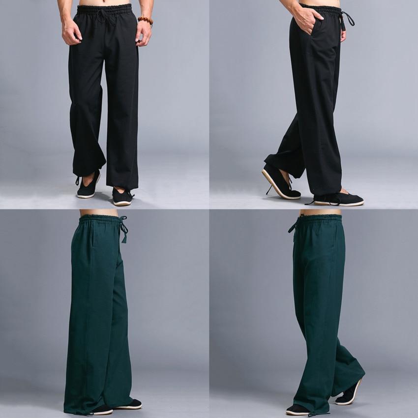 2020 Casual Harem Pants Men Jogger Pants Chinese Traditional Harajuku Kung Fu Tang Suit Tai Chi Uniform Cotton Linen Trousers