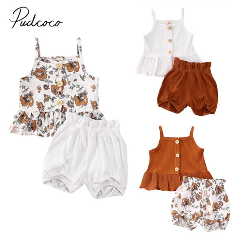 Kids Baby Girls Summer Clothes Vest Tops Floral Shorts Pants 2PCS Outfits Set