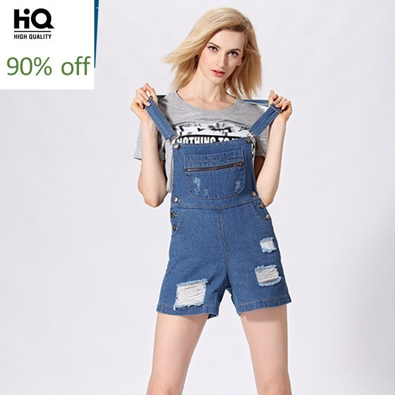 Suspender Stretch Hole Ripped Women Overalls Korea High Waist Loose Short Pants Wash Distressed Female Fashion Denim Jumpsuits