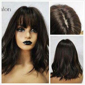 Image 4 - ALAN EATON pelucas de pelo sintético para mujer, Peluca de pelo sintético ondulado rubio con flequillo, Cosplay de Lolita