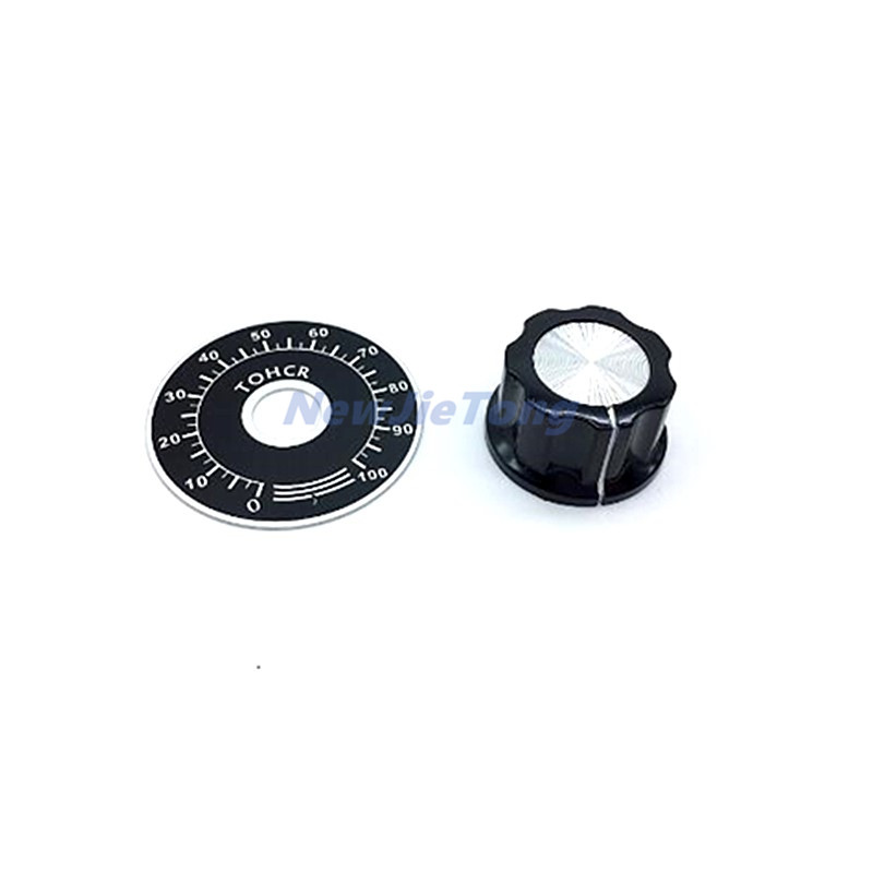 5pcs MF-A103 Bakelite Knob + A03 Dial Knob With Scale Plate Sheet Scale Digital Potentiometer Caps For 3590S RV24YN 6MM 6.4MM