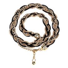 Paski damski łańcuszek elastyczny pasek elegancki pas biodrowy metalowe pasy Designer Luxury Diamond Female cienki pas Femme # L20 tanie tanio ISHOWTIENDA Płótno WOMEN Dla dorosłych Chain belt Stałe Na co dzień