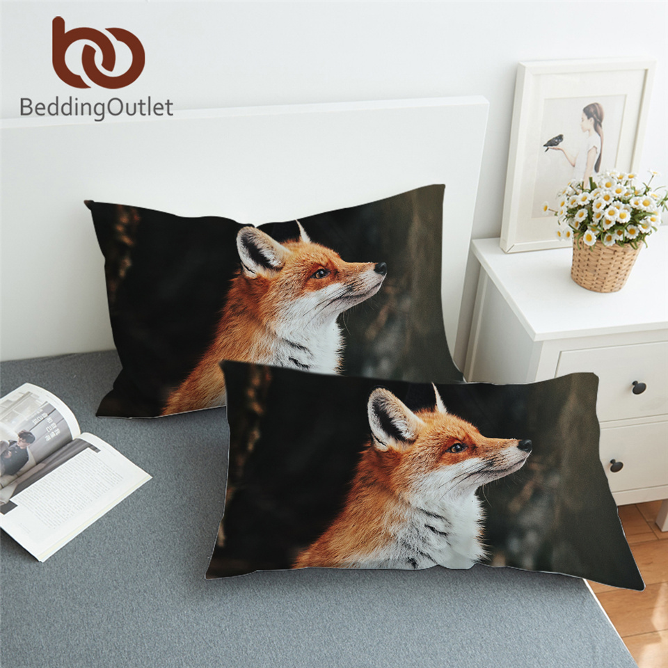 BeddingOutlet Fox Bed Pillowcase 3D Printed <font><b>Pillow</b></font> <font><b>Case</b></font> Animal Bedding Leaf Leaves Flower Sleeping <font><b>Pillow</b></font> Cover <font><b>50x90cm</b></font> One Pair image