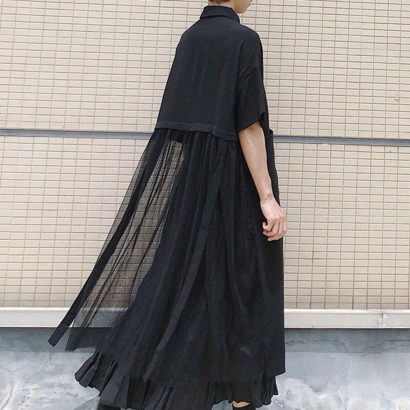 Korean Japan style women long chiffon shirt irregular mesh stitching single-breasted top school casual 2019 autumn