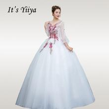 Its YiiYa Wedding Dress Embroidery Elegant White Ball Dresses V-neck Plus Size Lantern Sleeve Robe De Mariee CH202