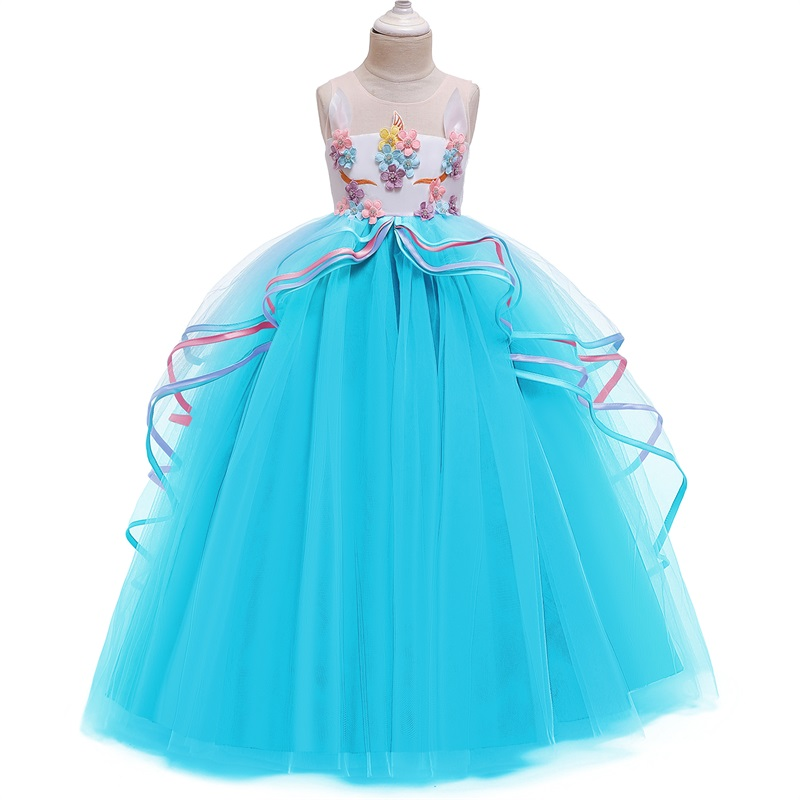 H74afbf92fe4545cb9639c2a88b6f40e6I Vintage Flower Girls Dress for Wedding Evening Children Princess Party Pageant Long Gown Kids Dresses for Girls Formal Clothes