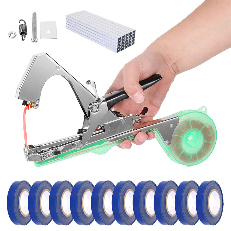 Tying Machine Tapetool Tapener with 10 Rolls Tape Set and 1Box Nail for Vegetable's Stem Plant Branch Strapping