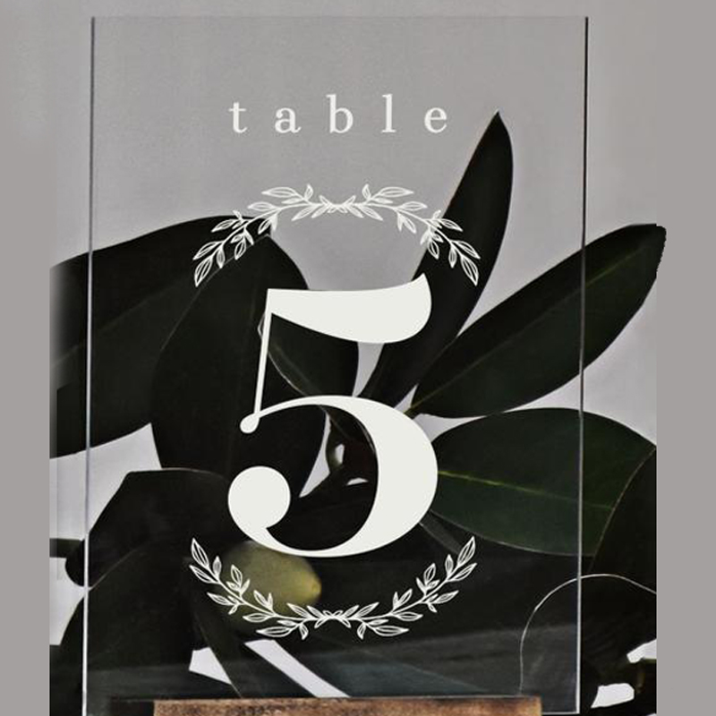 Personalized Wreath Wedding Table Numbers Modern Table Signs Leaves Decor Table Decor Clear Acrylic Wedding Table Number