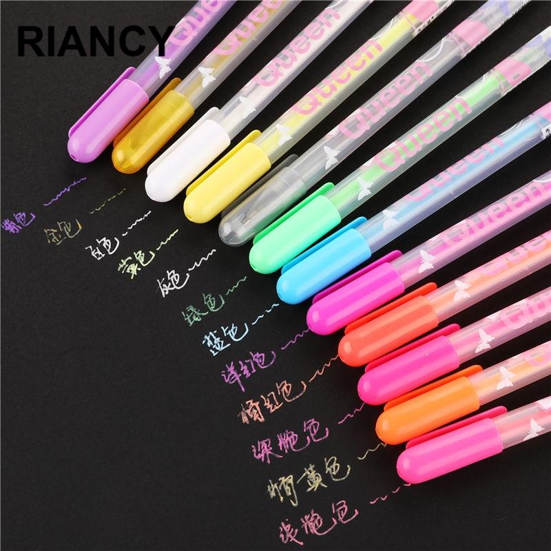 12pcs/lot Glitter Gel Pens Set Refills Metallic Neon Chalk Colors Gel Pens Drawing Caneta Pastel Art Marker Pen Stationery 04071