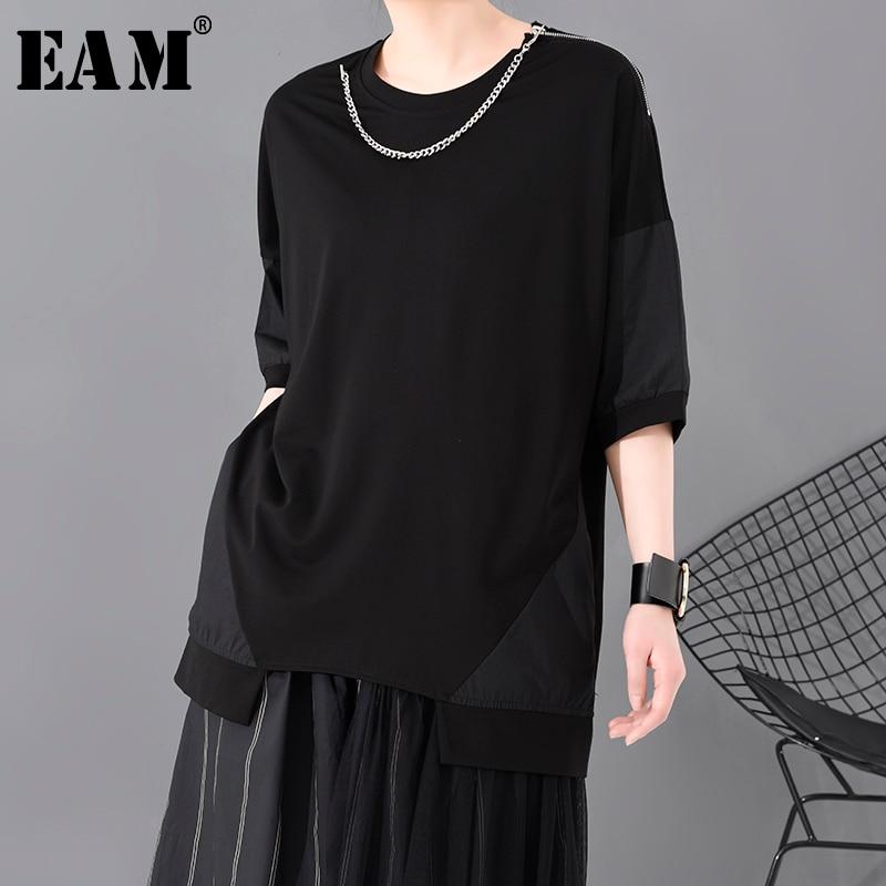 [EAM] Women Black Chain Split Joint Zipper Big Size T-shirt New Round Neck Half Sleeve  Fashion Tide  Spring Summer 2020 1S793
