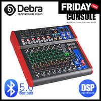 Debra Pro-controlador de DJ de 8 canales, con efecto de reverberación 99DSP, Bluetooth 5,0, mezclador USB para karaoke, PC, micrófono, grabación condensador