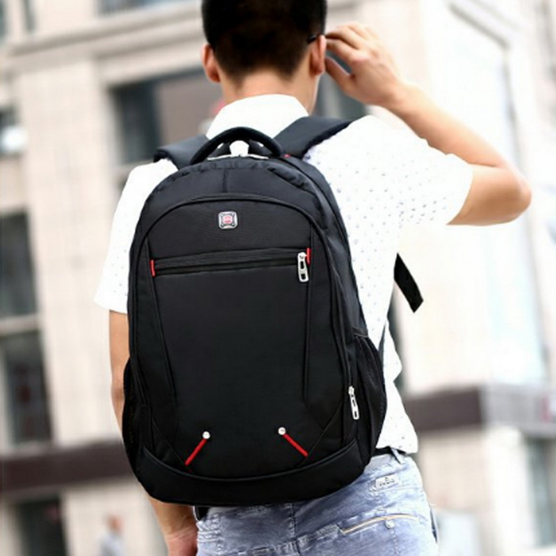 Adisputent 2020 Large Capacity Man's Backpack Casual Solid Color Oxford Backpack Multi-functional Simple Student Schoolbag Black