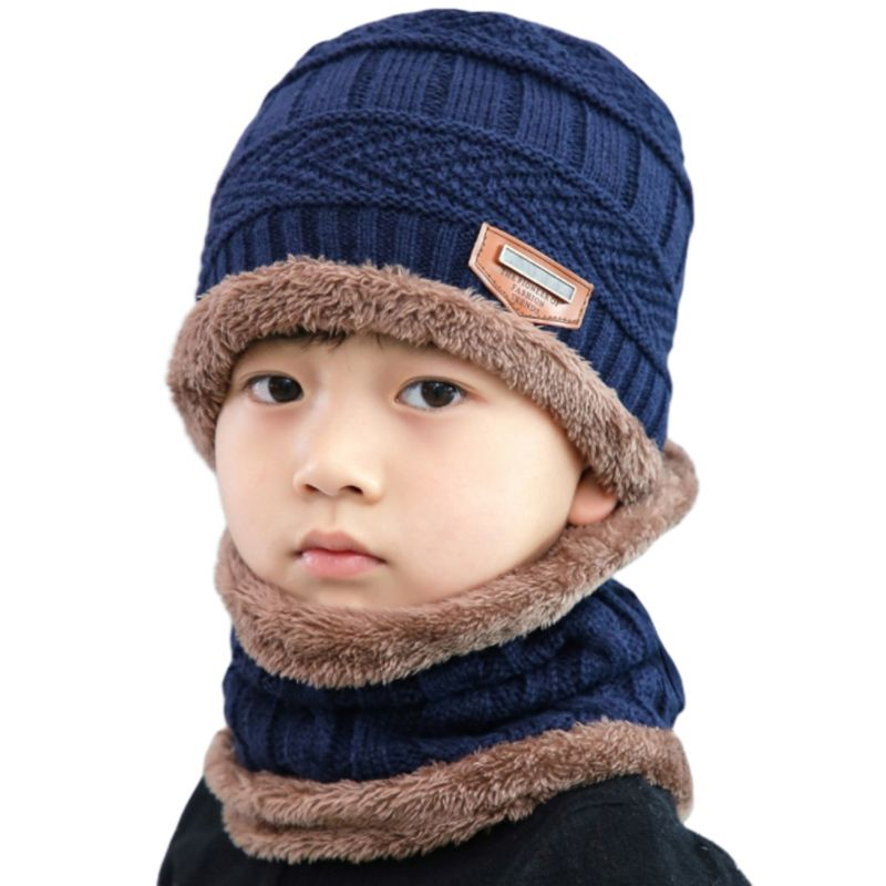 Adult Kids Winter Chunky Cable Knit Faux Fleece Lined Warm Beanie Hat Scarf Set 24BC