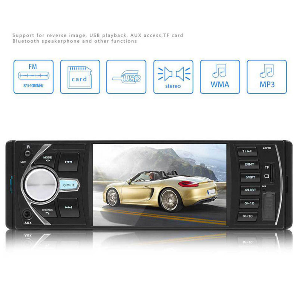 4022D Aux Audio Car Radio TF Universal USB MP5 Player FM Stereo Bluetooth Multimedia 4.1 Inch Screen Video Durable
