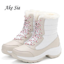 Женские зимние ботинки; теплые зимние ботинки; водонепроницаемые ботильоны на толстой платформе; женская хлопковая обувь на толстом меху; Размеры 35-41
