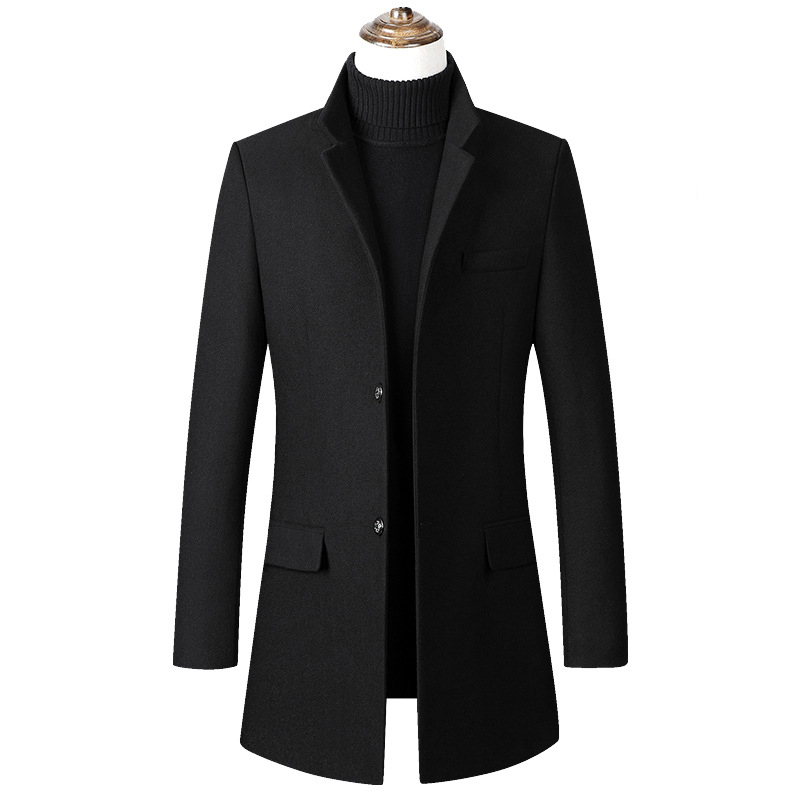 Men Winter Wool Coat Men's Autumn High Quality Solid Color Simple Wool Blends Woolen Pea Coat Male Trench Coat Overcoat