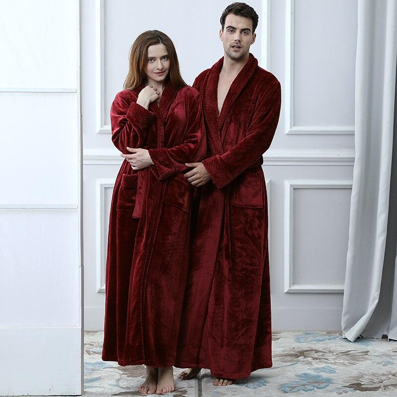 Image 2 - Women Men Thermal Luxury Flannel Extra Long Bath Robe Winter Sexy Grid Fur Bathrobe Warm Kimono Dressing Gown Bridesmaid Robes-in Robes from Underwear & Sleepwears