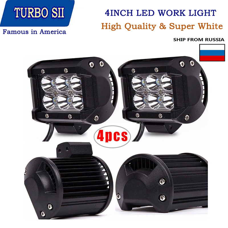 Светодиодный прожектор 18 Вт, 4 дюйма, 4 шт., противотуманные фары 12 В 24 В для внедорожников, грузовиков, автобусов, лодок, тракторов, квадроциклов, UTV 4x4 Передние LED-фары для авто      АлиЭкспресс