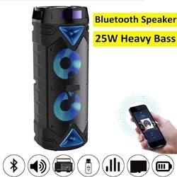 Alto-falante sem fio bluetooth portátil 25w alta fidelidade baixo pesado mp3 player de música boombox à prova dusb água usb tf fm rádio alto-falante subwoofer